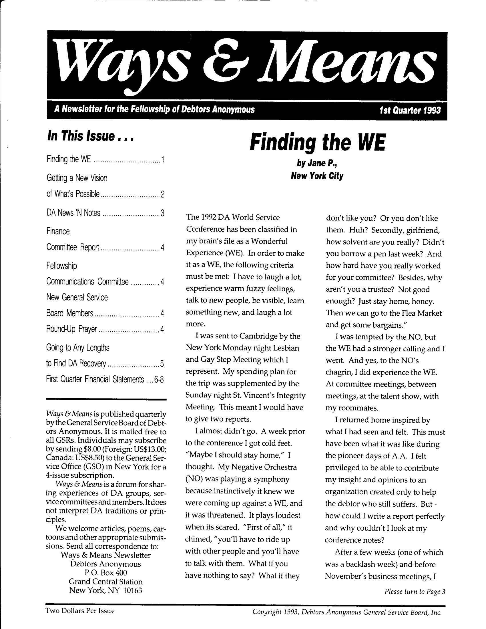 Ways & Means 1st QTR 1993