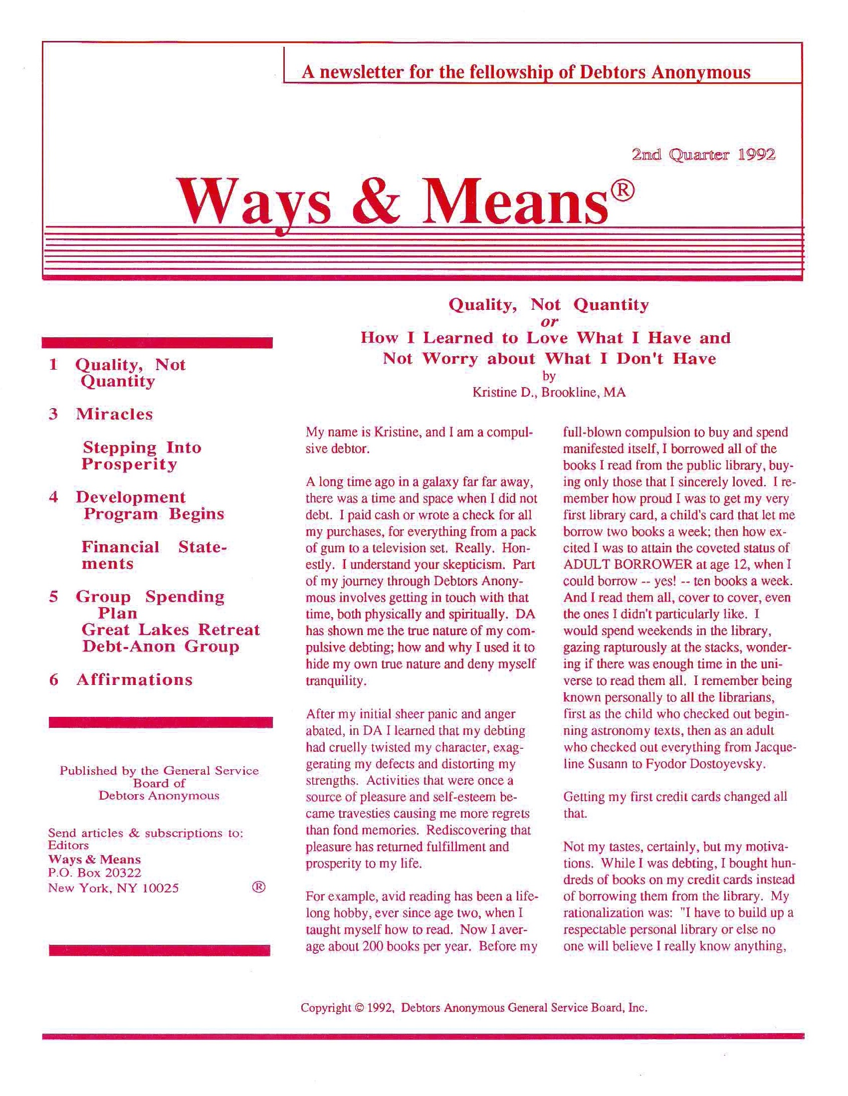 Ways & Means 2nd QTR 1992
