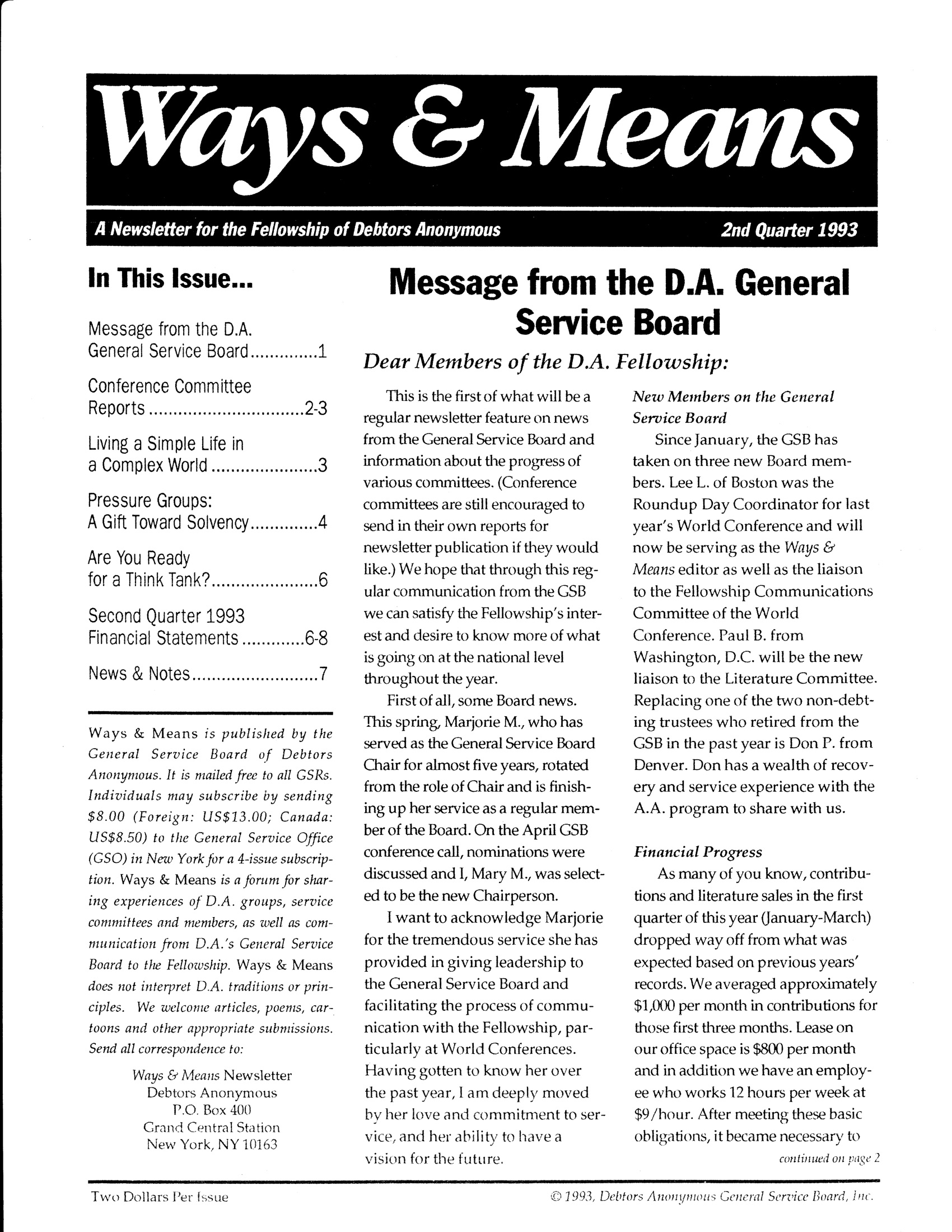 Ways & Means 2nd QTR 1993