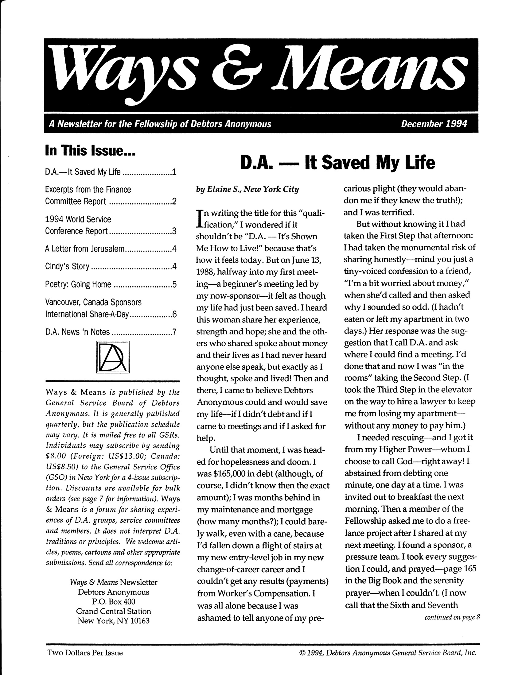 Ways & Means 4th QTR 1994