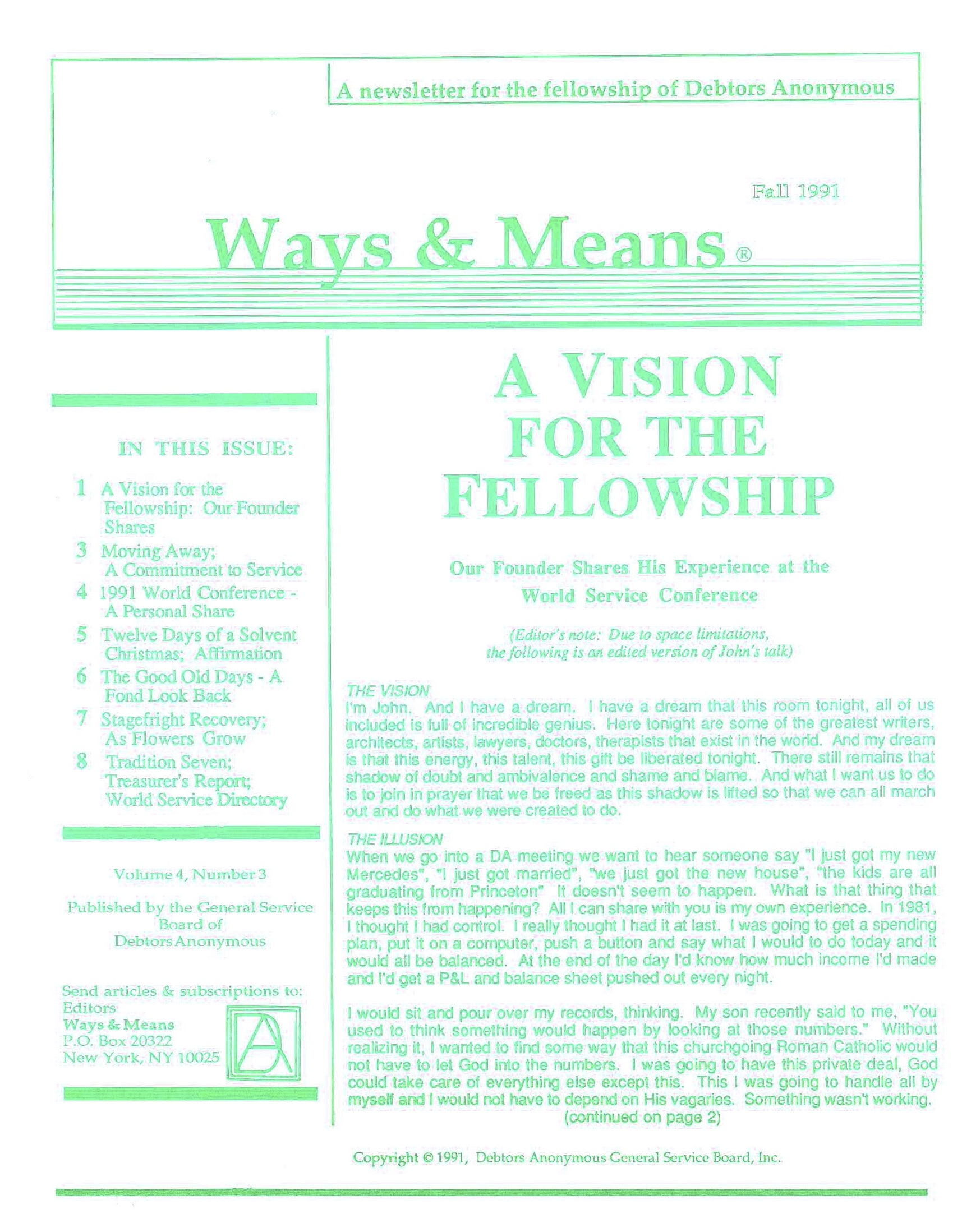 Ways & Means 4th QTR 1991