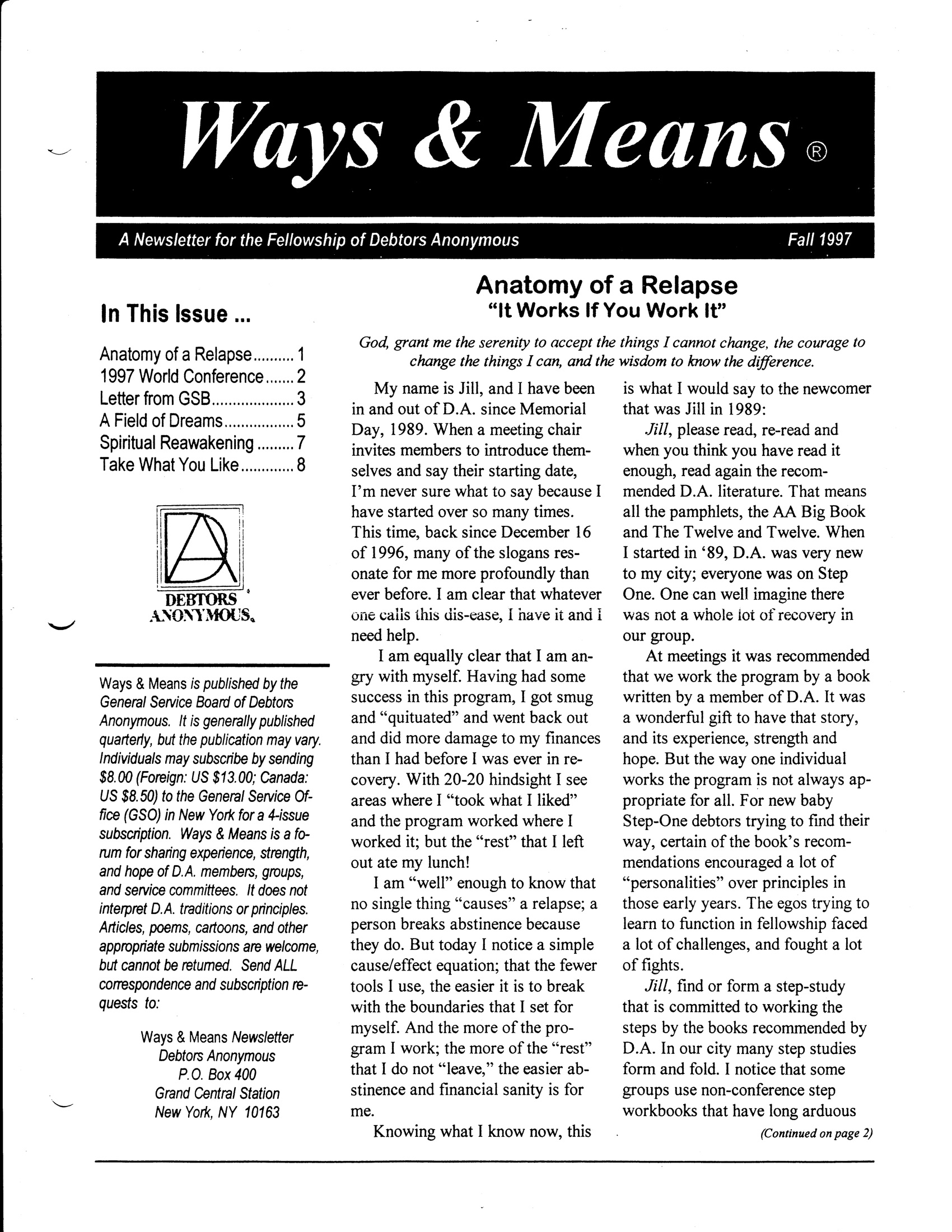 Ways & Means 4th QTR 1997