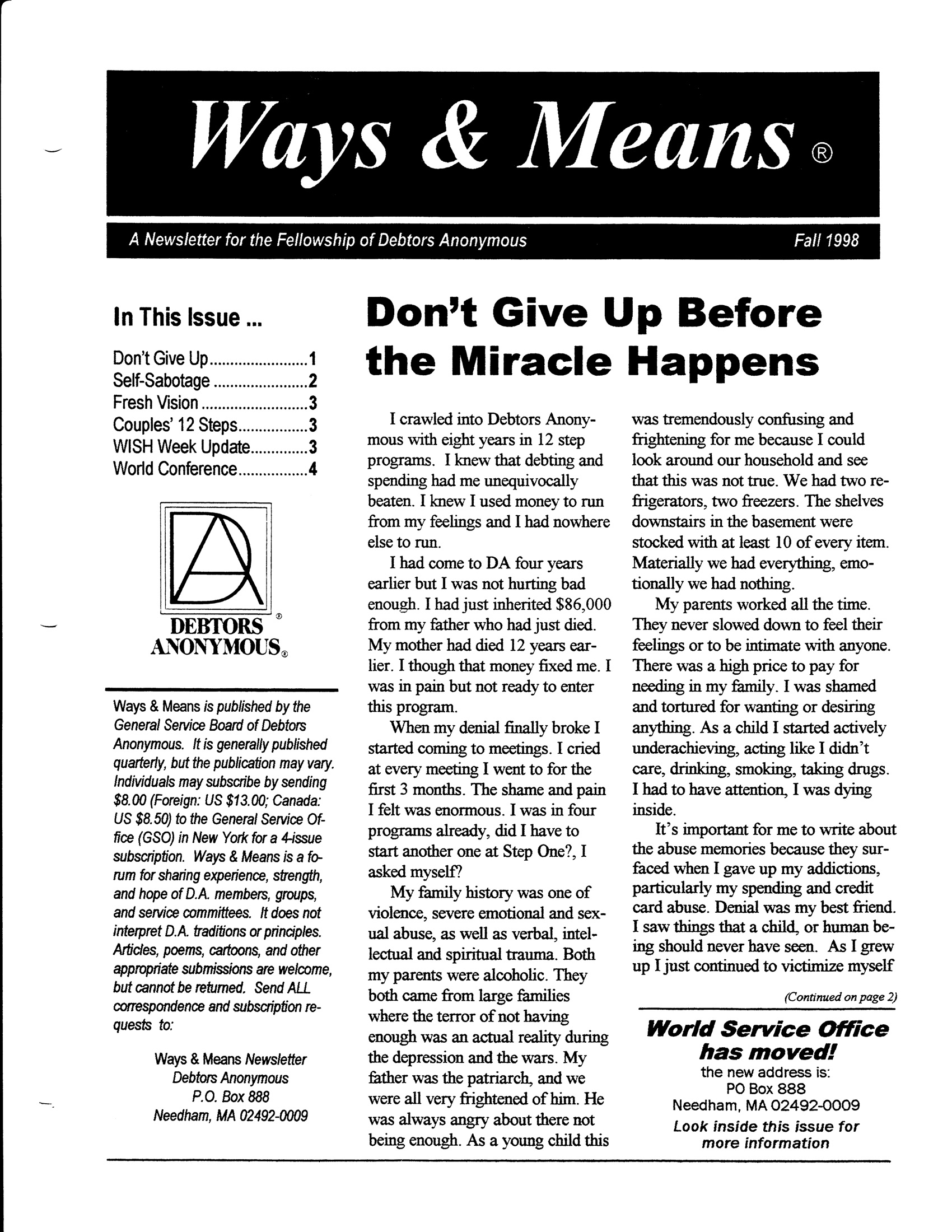 Ways & Means 4th QTR 1998