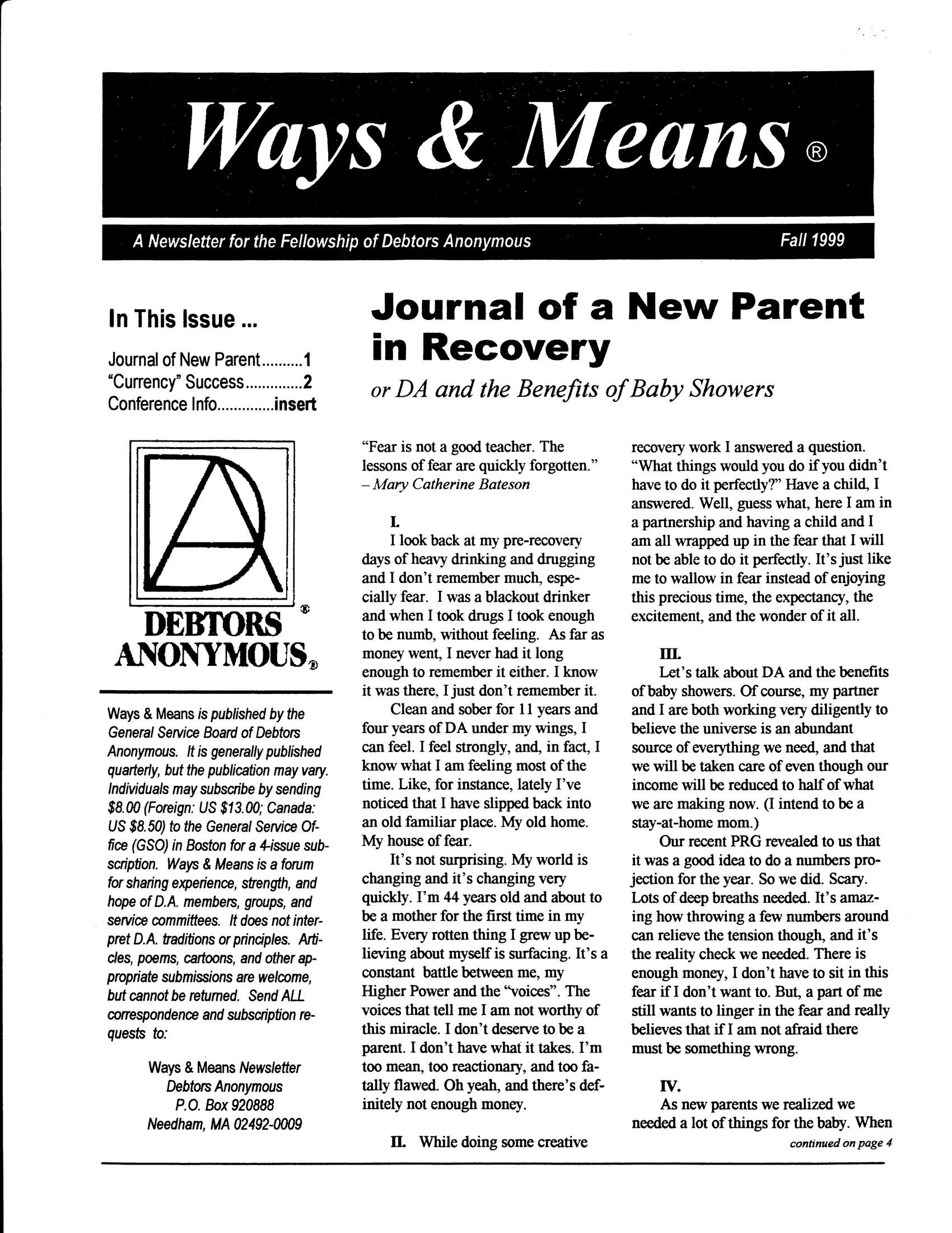 Ways & Means 4th QTR 1999