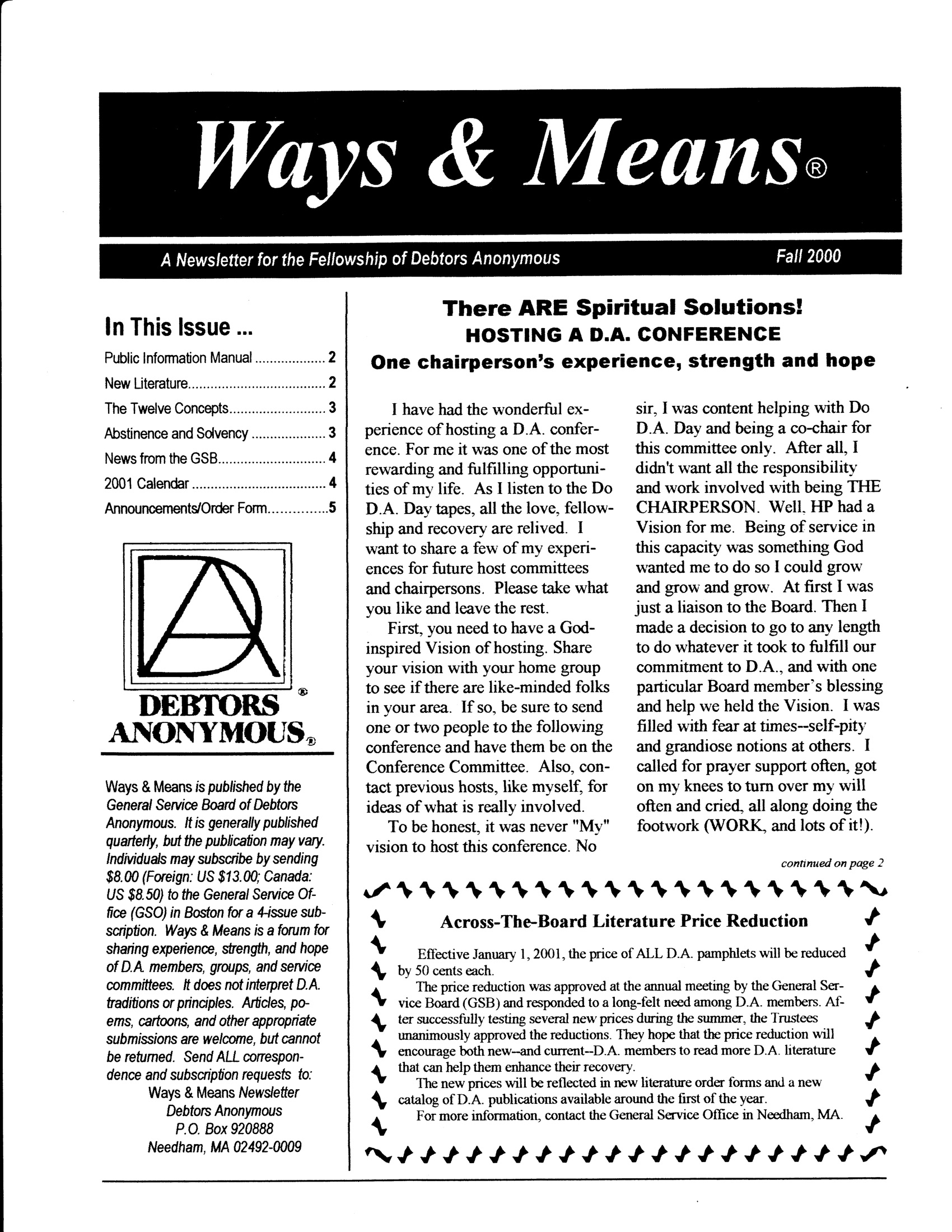 Ways & Means 4th QTR 2000