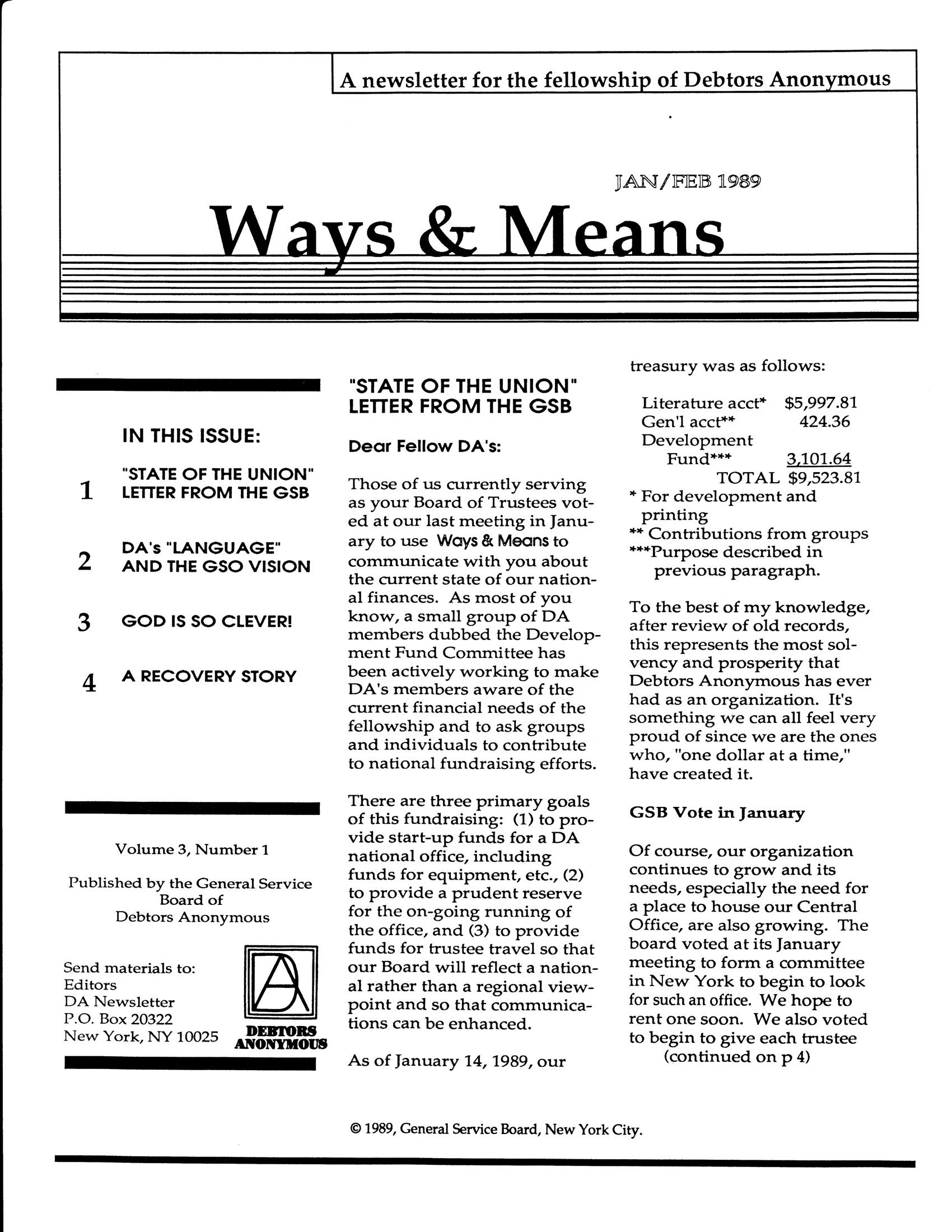 Ways & Means 1st QTR 1989