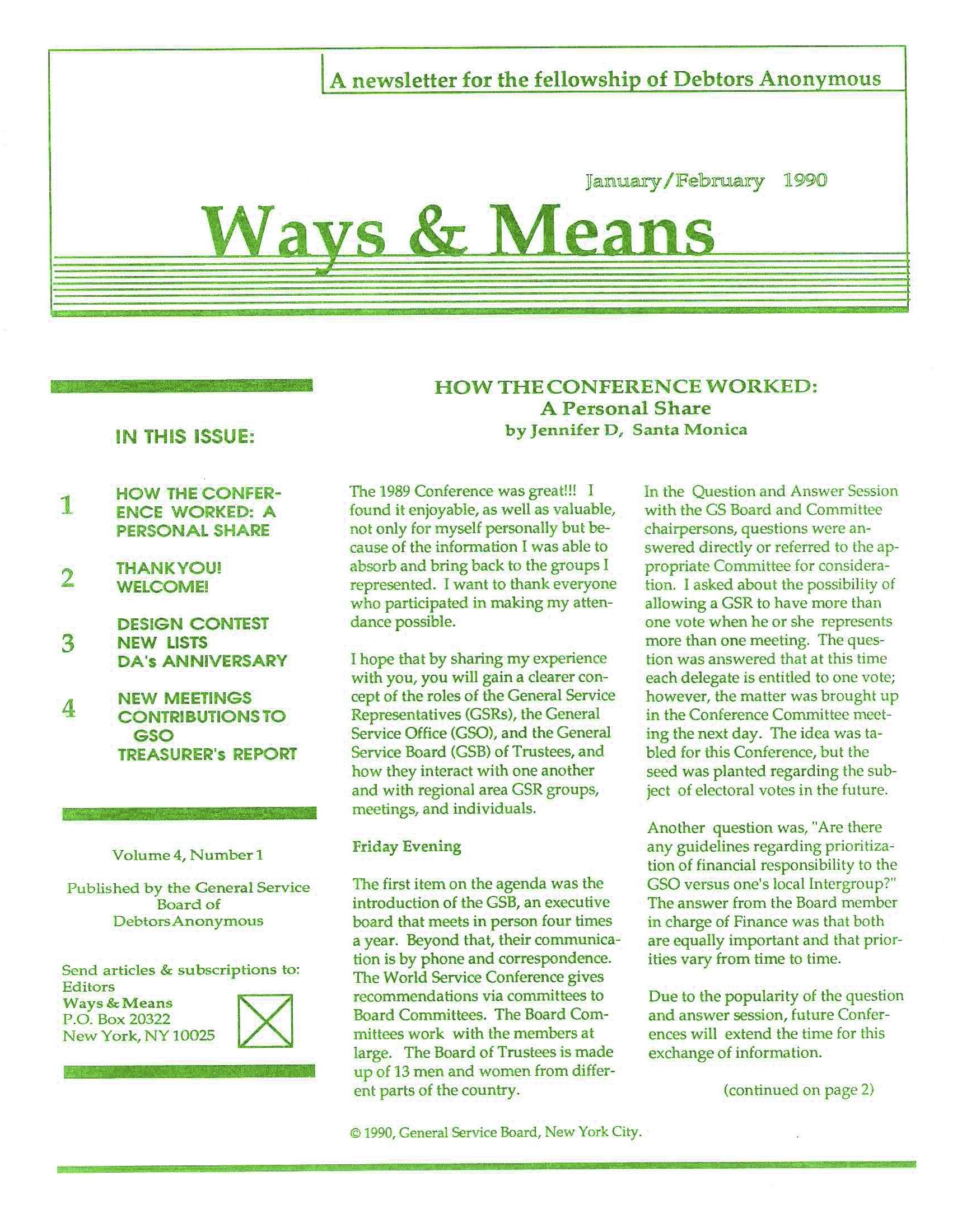 Ways & Means 1st QTR 1990