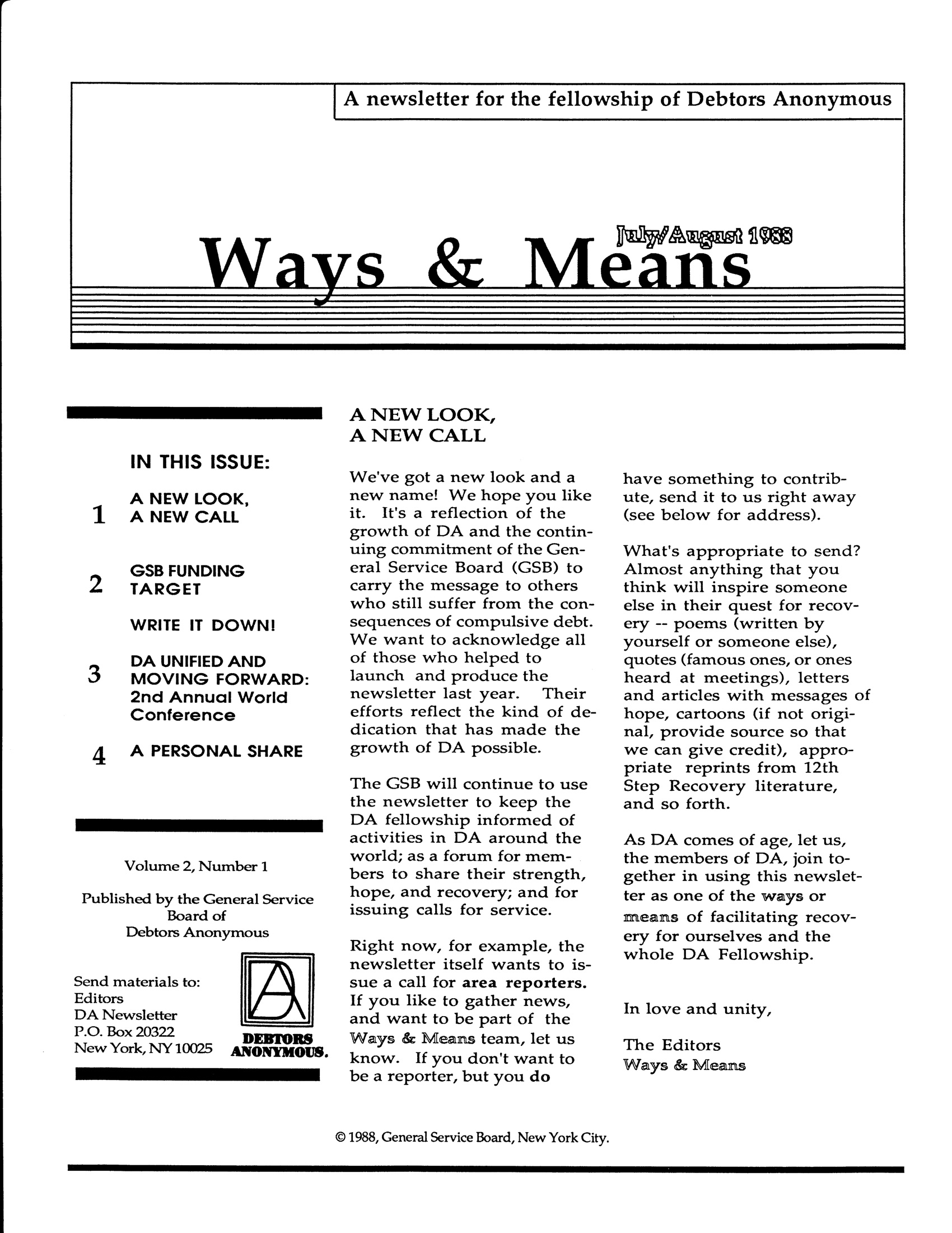 Ways & Means 3rd QTR 1988