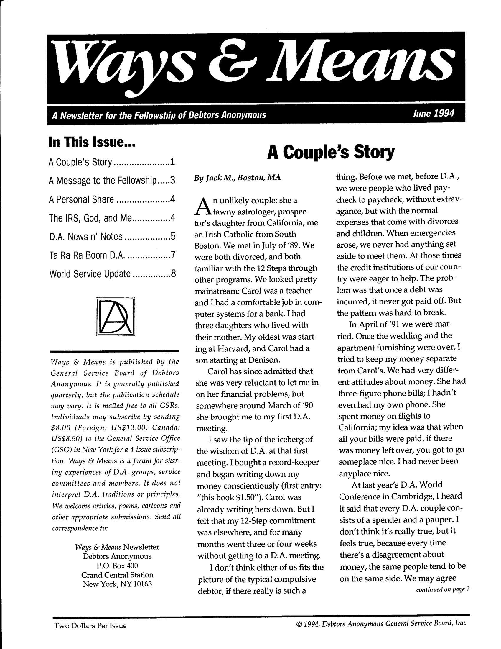 Ways & Means 2nd QTR 1994