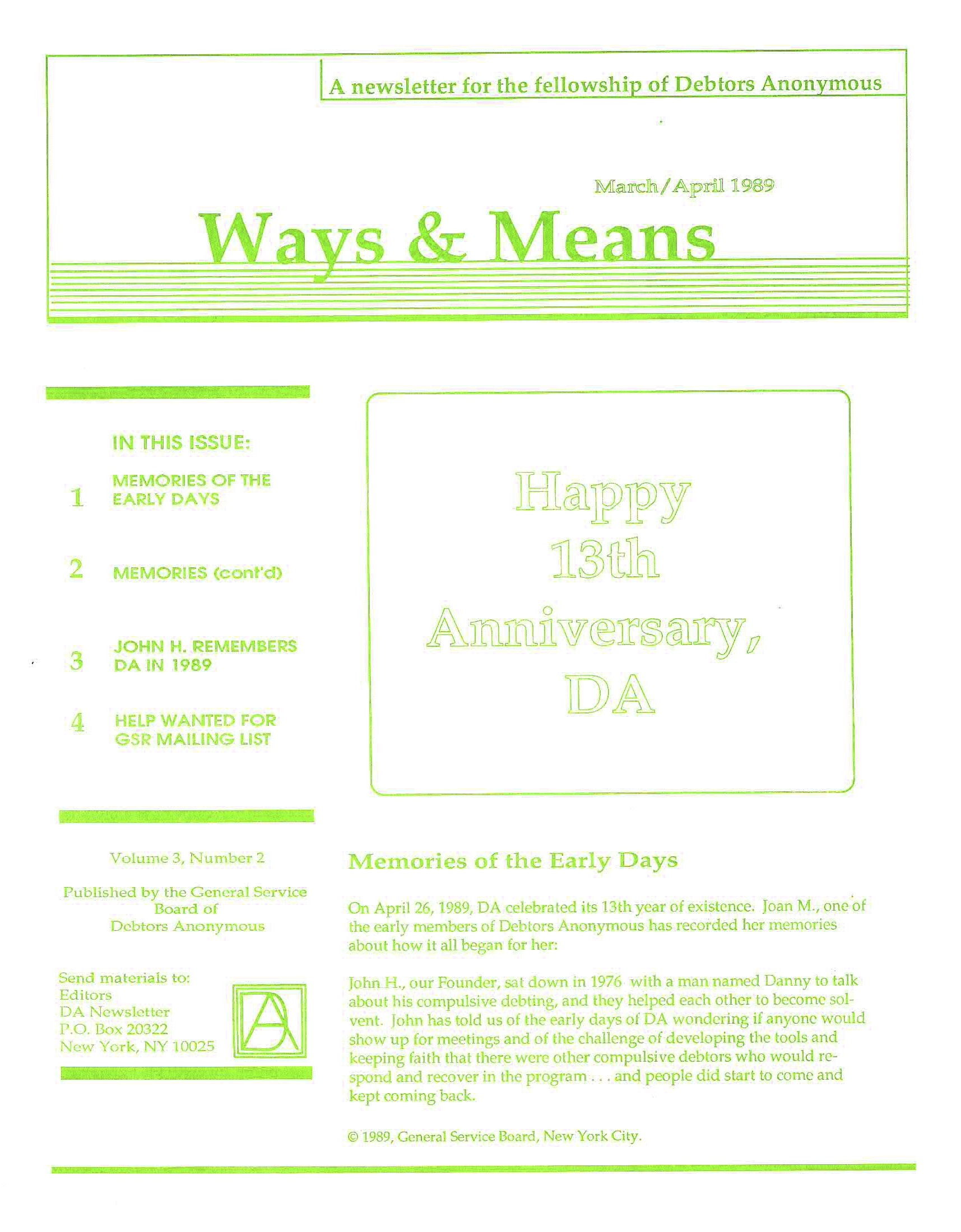 Ways & Means 2nd QTR 1989