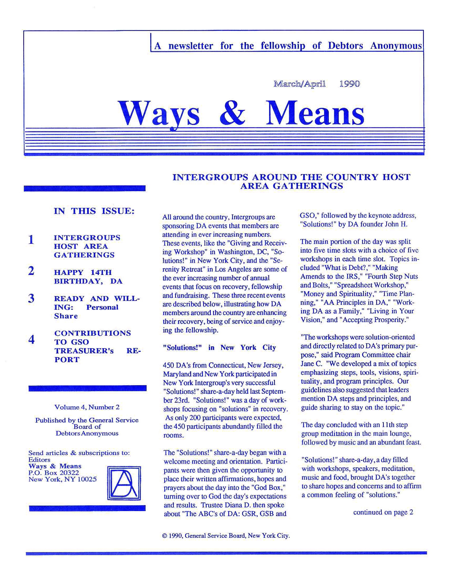 Ways & Means 2nd QTR 1990