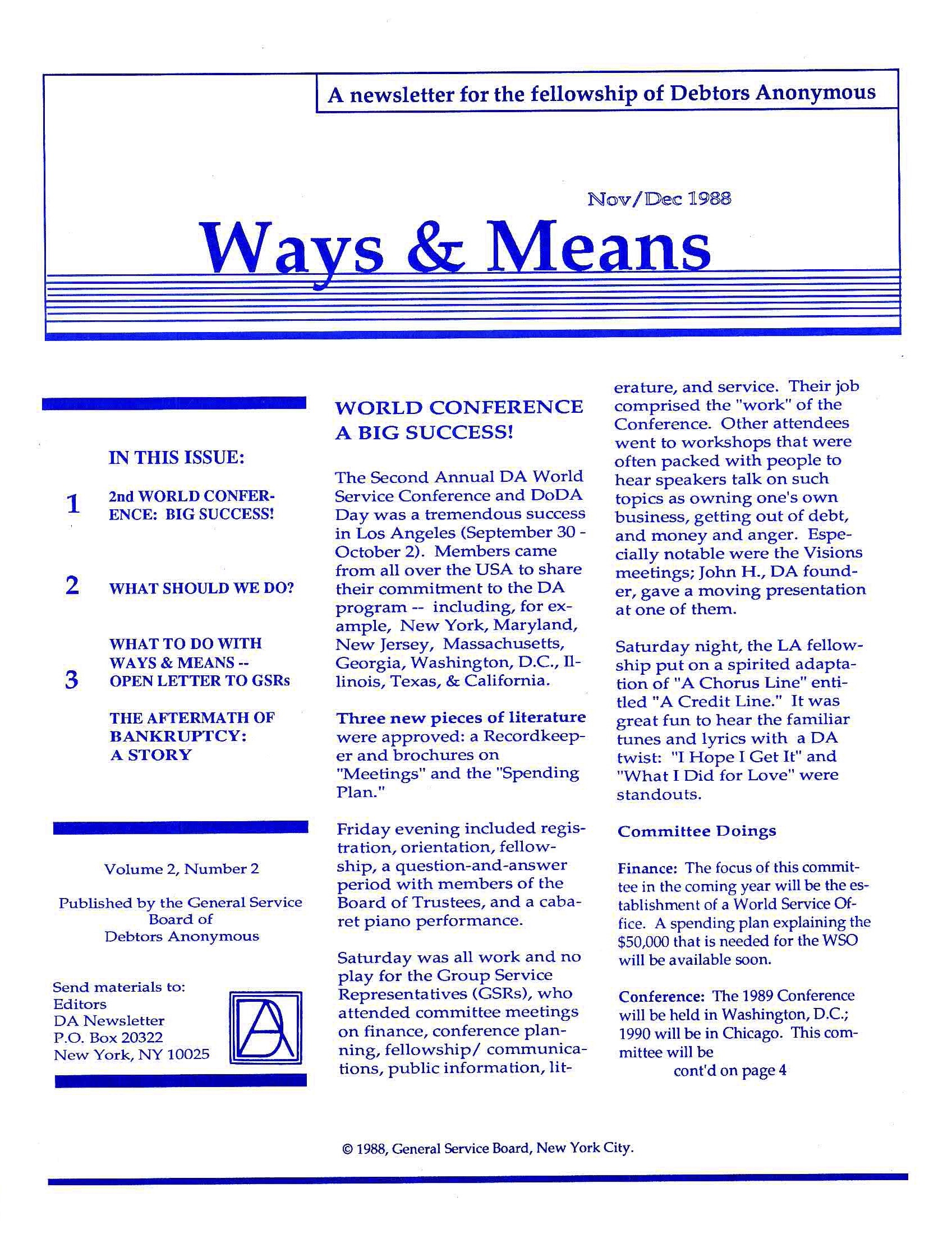 Ways & Means 4th QTR 1988