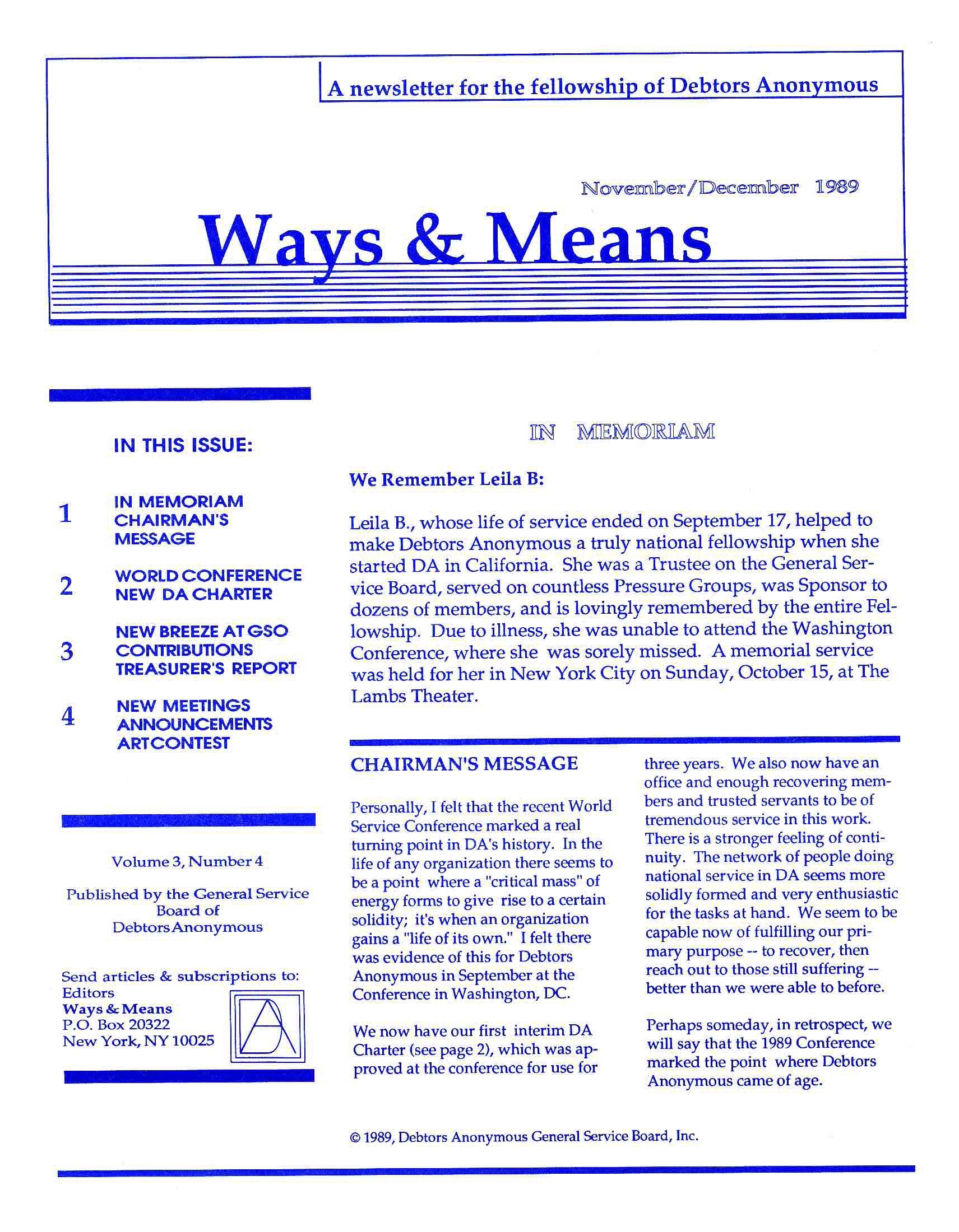 Ways & Means 4th QTR 1989