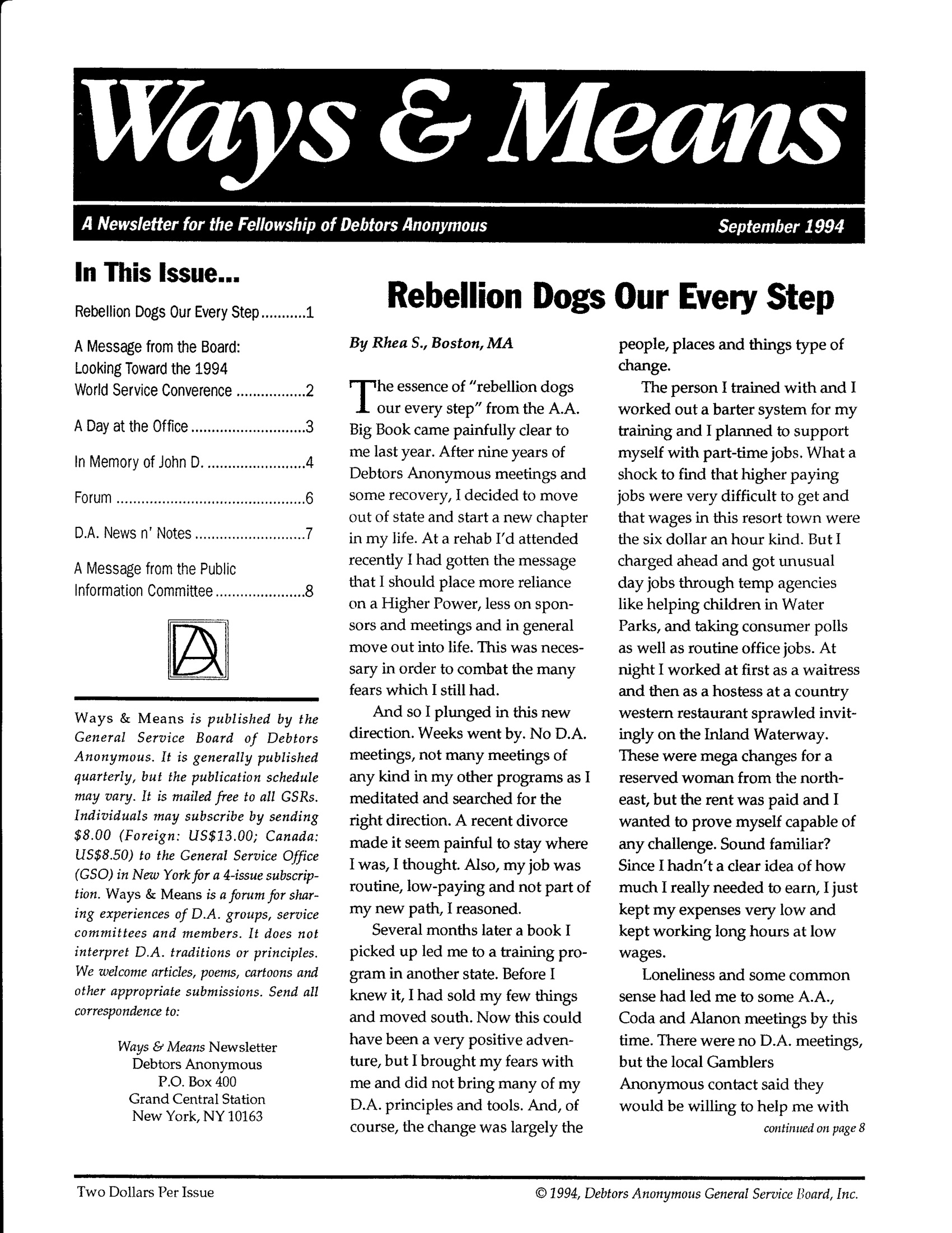 Ways & Means 3rd QTR 1994