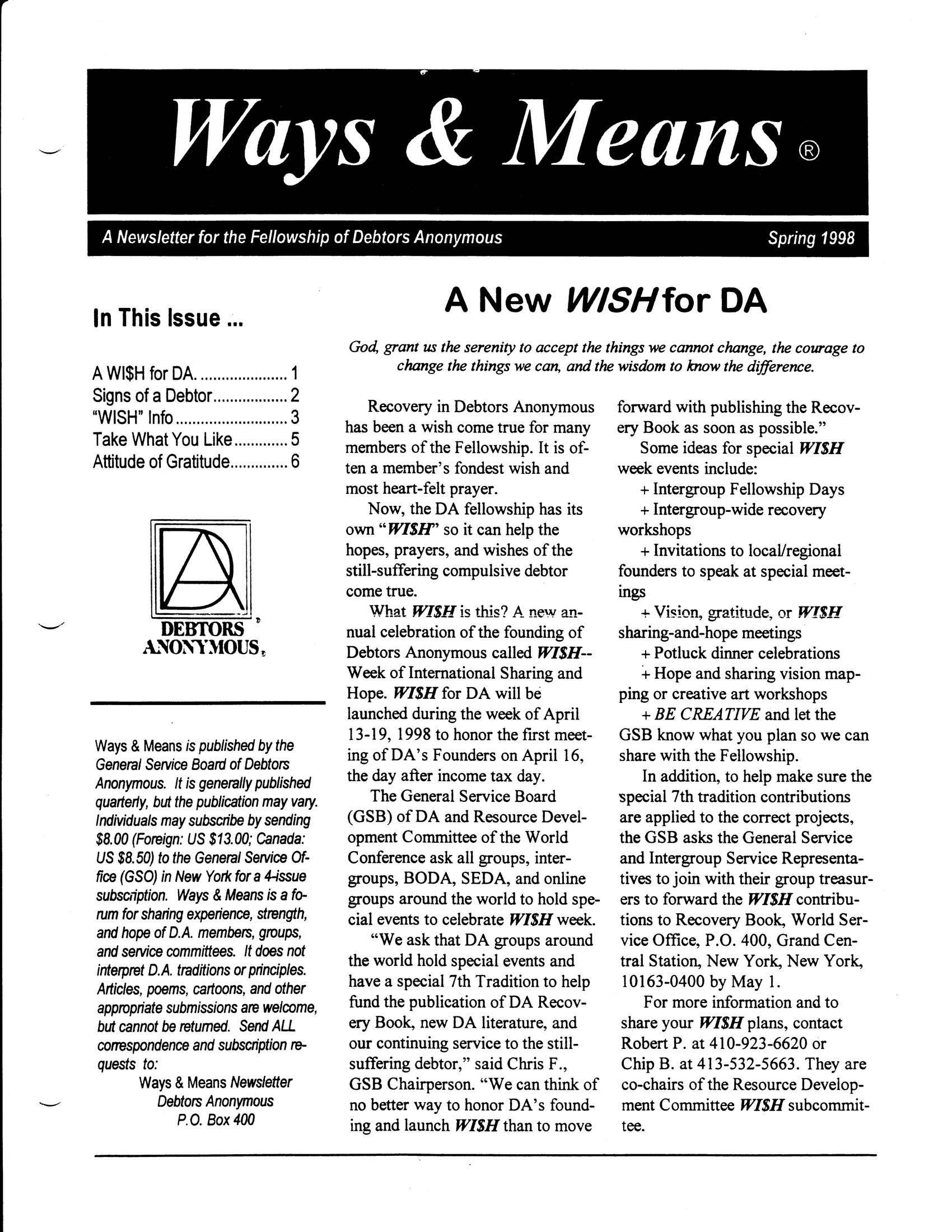 Ways & Means 2nd QTR 1998