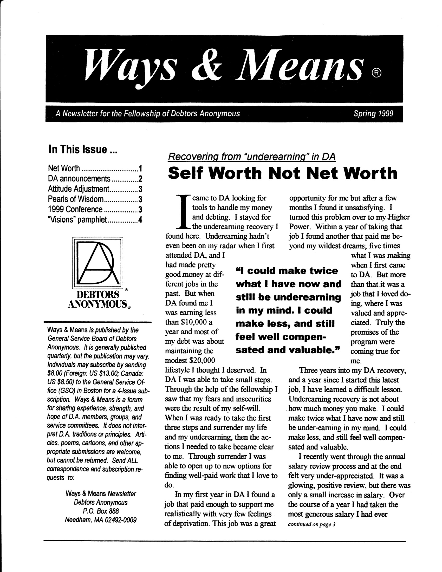 Ways & Means 2nd QTR 1999