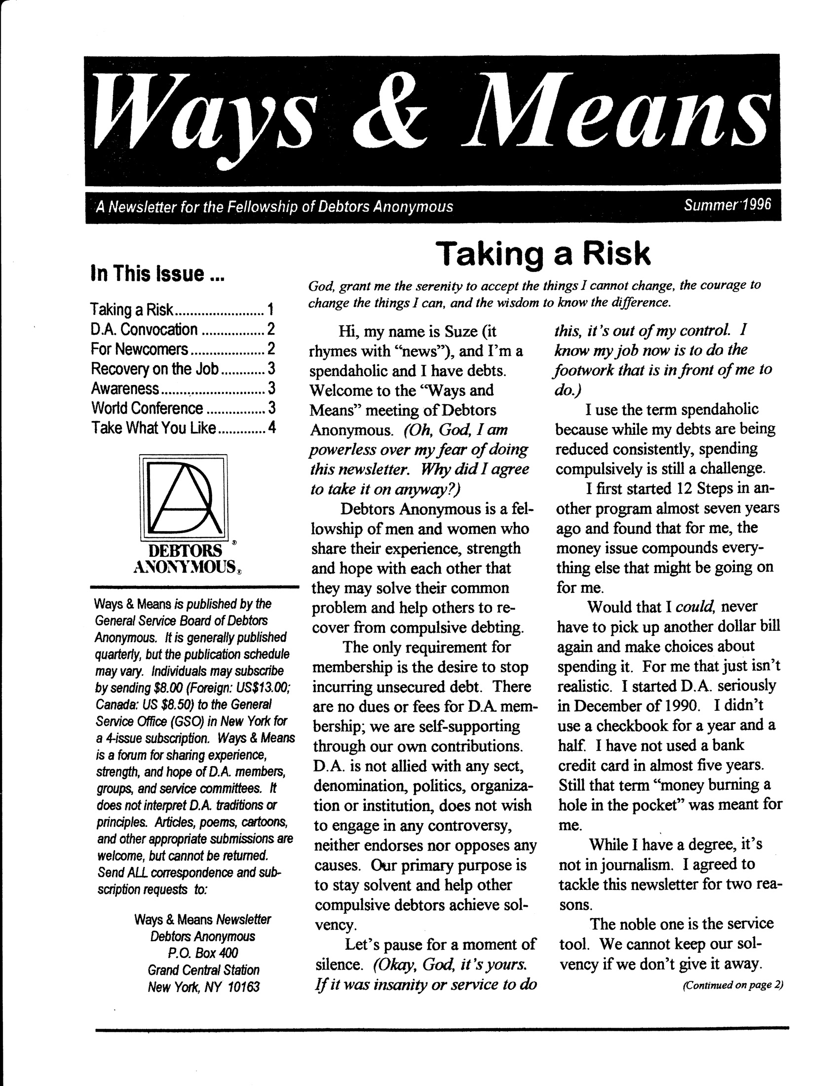 Ways & Means 3rd QTR 1996