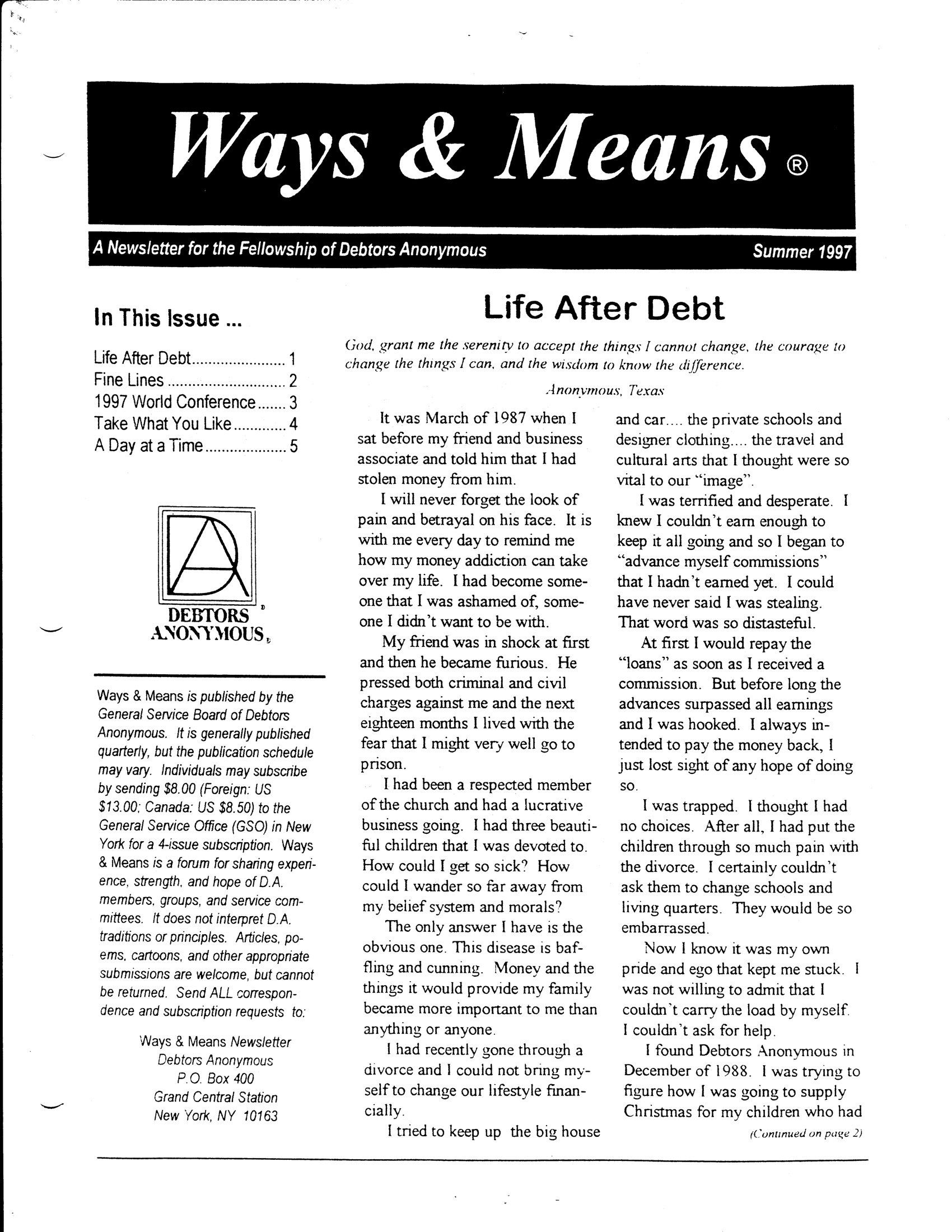 Ways & Means 3rd QTR 1997