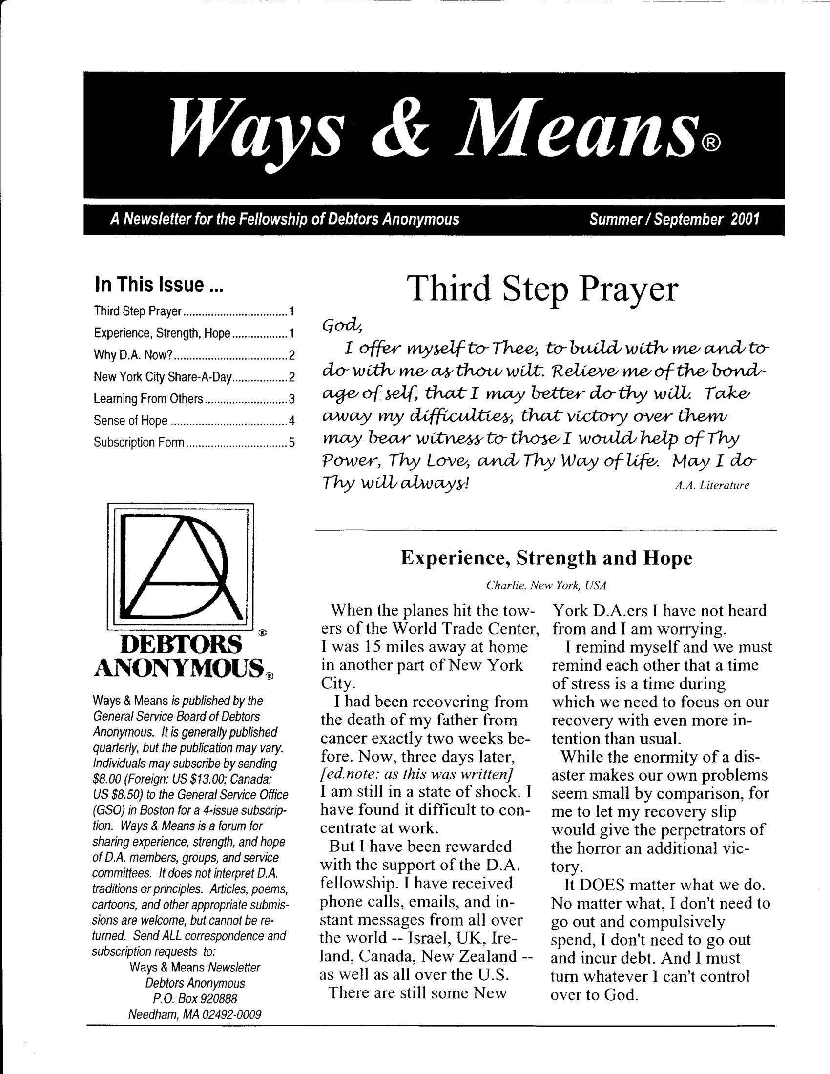 Ways & Means 3rd QTR 2001