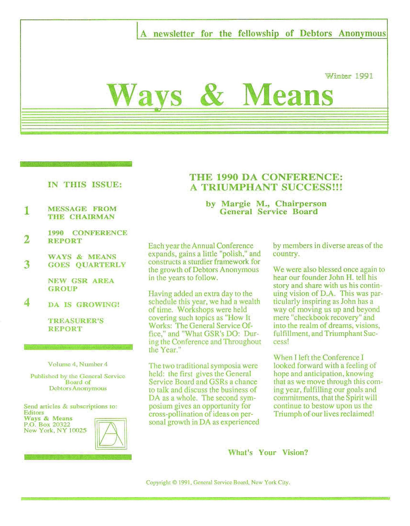 Ways & Means 1st QTR 1991