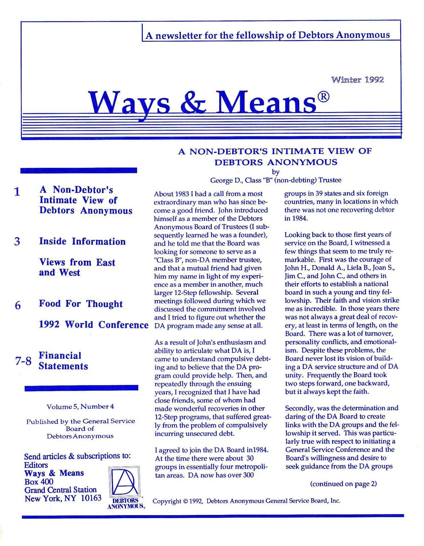 Ways & Means 1st QTR 1992