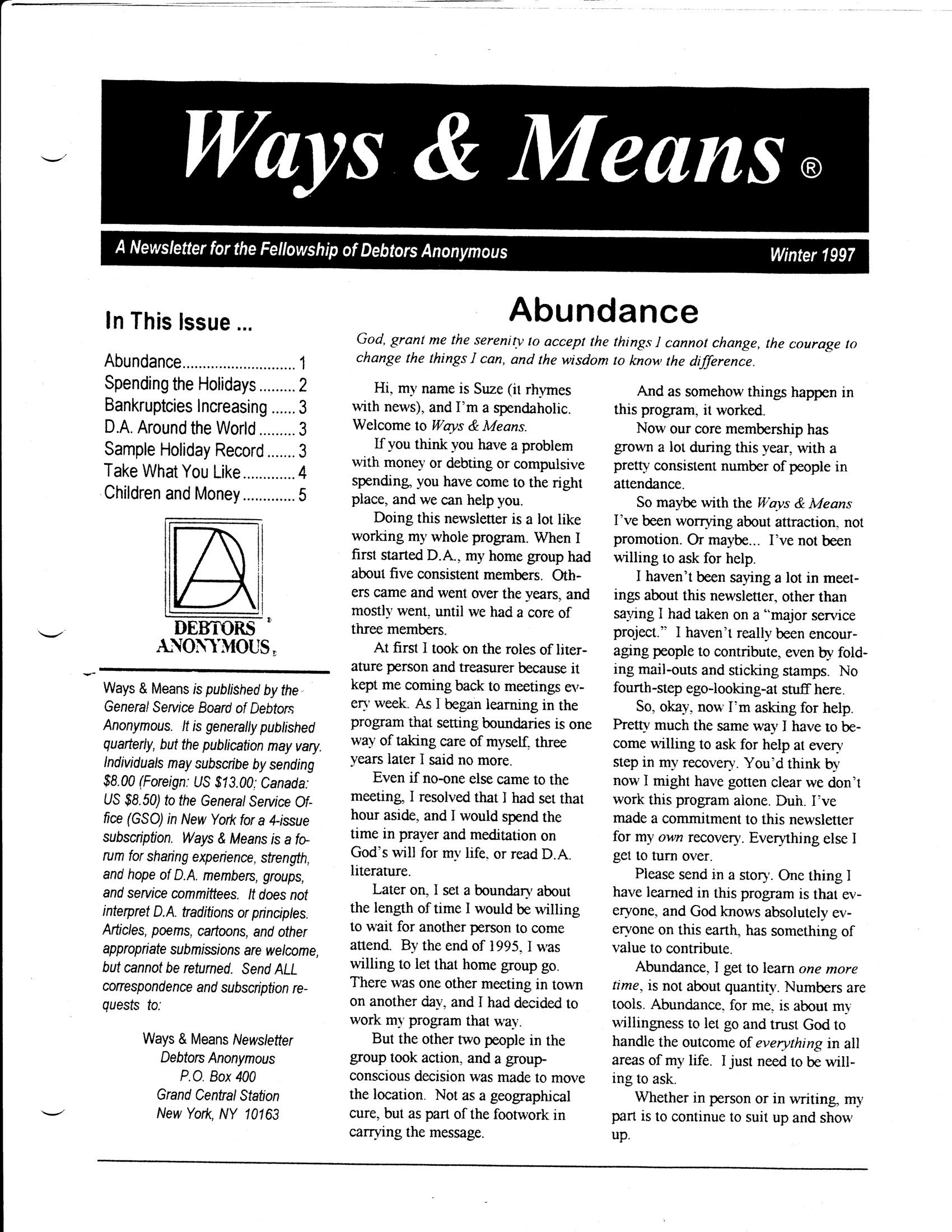 Ways & Means 1st QTR 1997