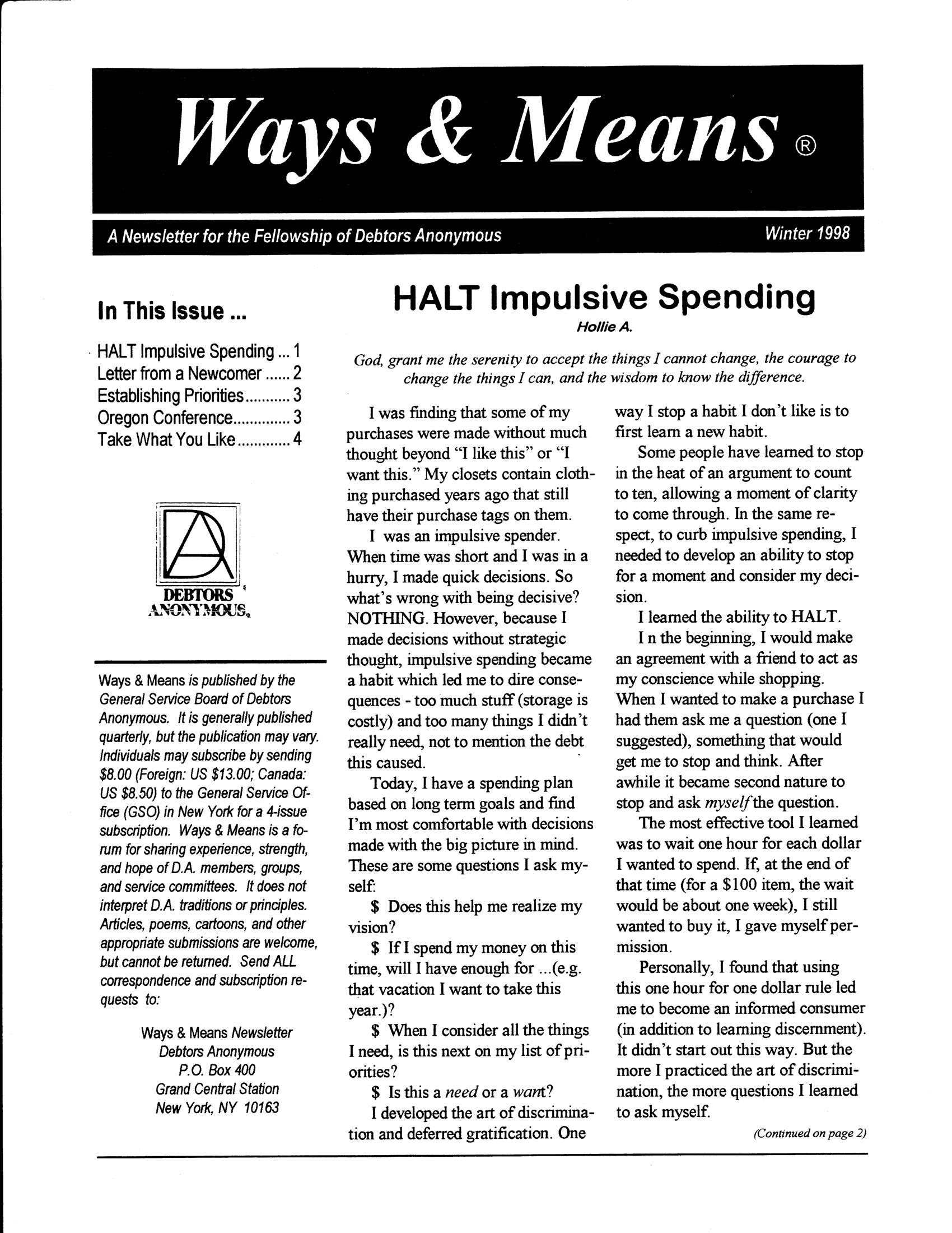 Ways & Means 1st QTR 1998