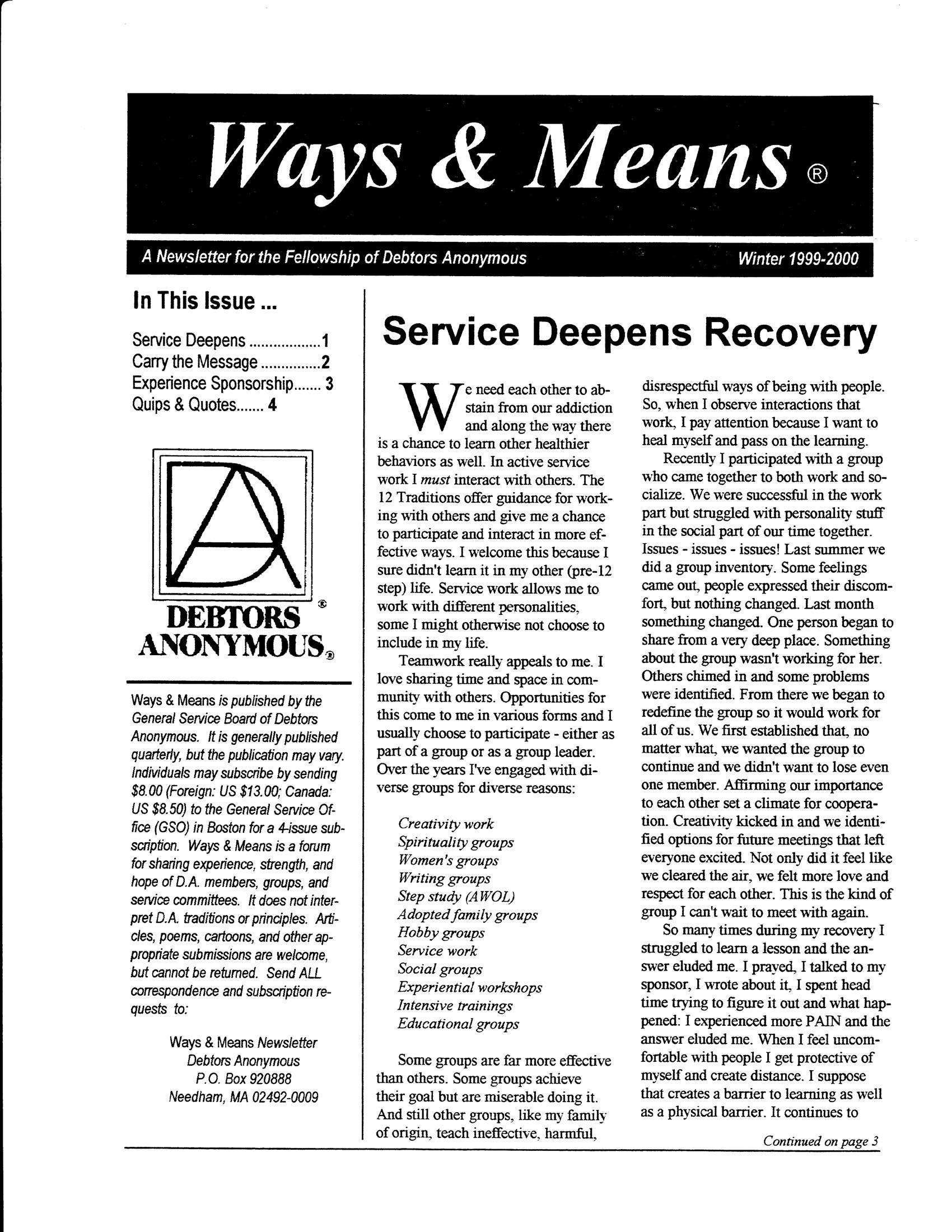 Ways & Means 1st QTR 1999