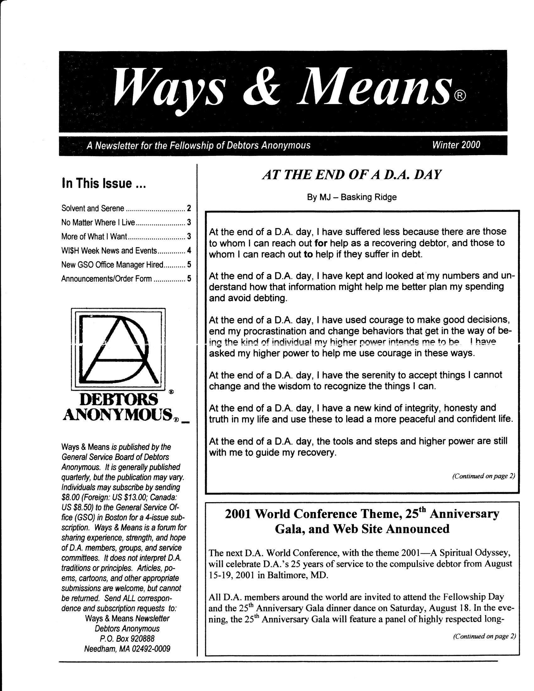 Ways & Means 1st QTR 2000